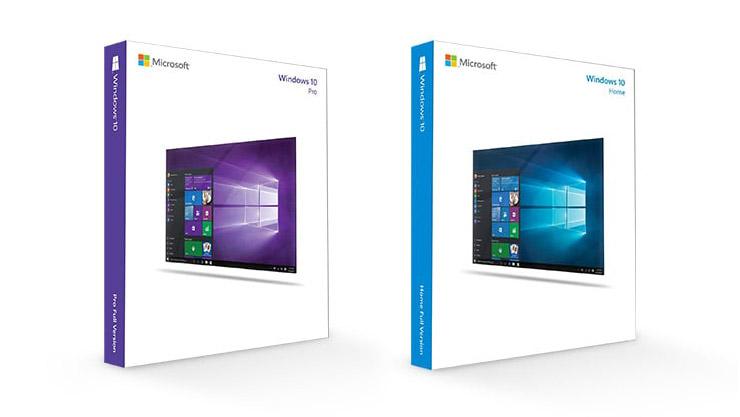 Windows 10:n Pro- ja Home-versioiden tuotekuvat