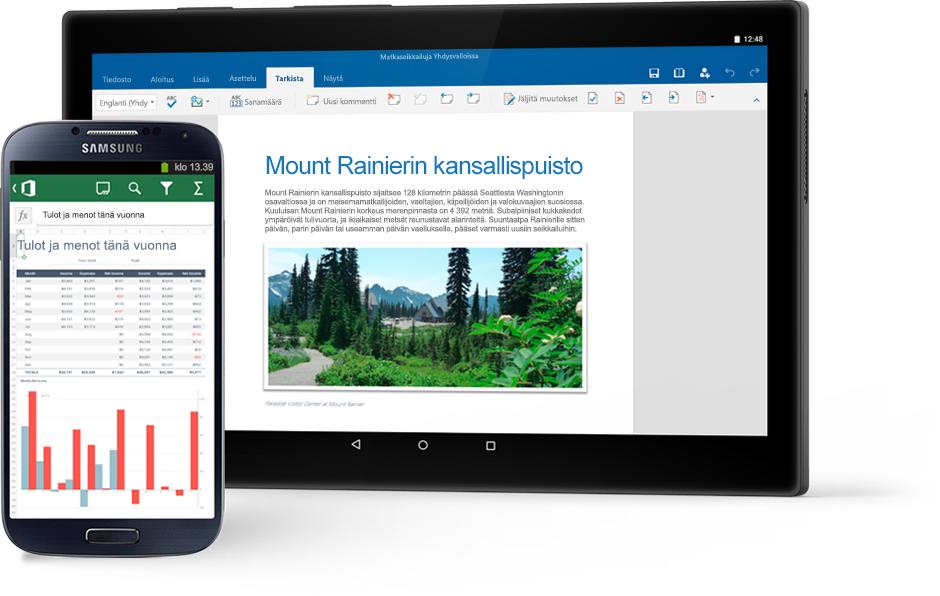 Puhelin, jossa näkyy Excel-kaavio, ja tabletti,                                             jossa näkyy Mount Rainierin kansallispuistoa käsittelevä Word-asiakirja