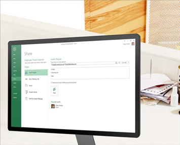 Tietokonenäyttö, jossa näkyvät Excel-laskentataulukoiden jakamisvaihtoehdot.