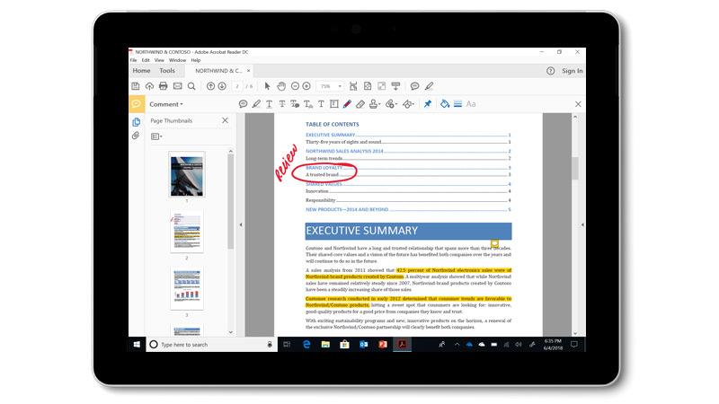 Surface Go -laitteessa näkyvä Adobe Acrobat DC:n PDF-tiedosto, jossa on käsinkirjoitettuja kommentteja