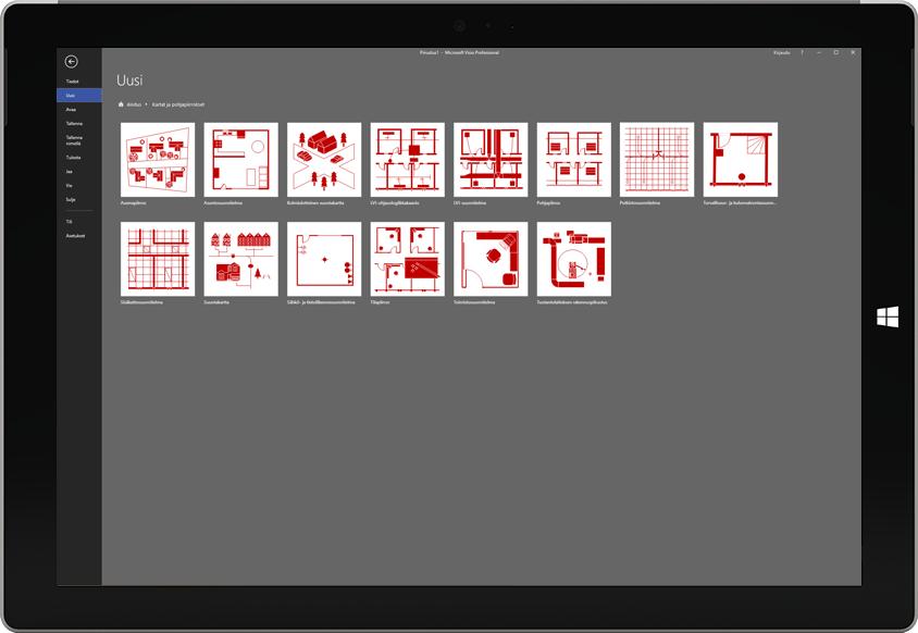 Microsoft Surface -tabletti, jossa näkyy luettelo Vision pohjapiirrosmalleista