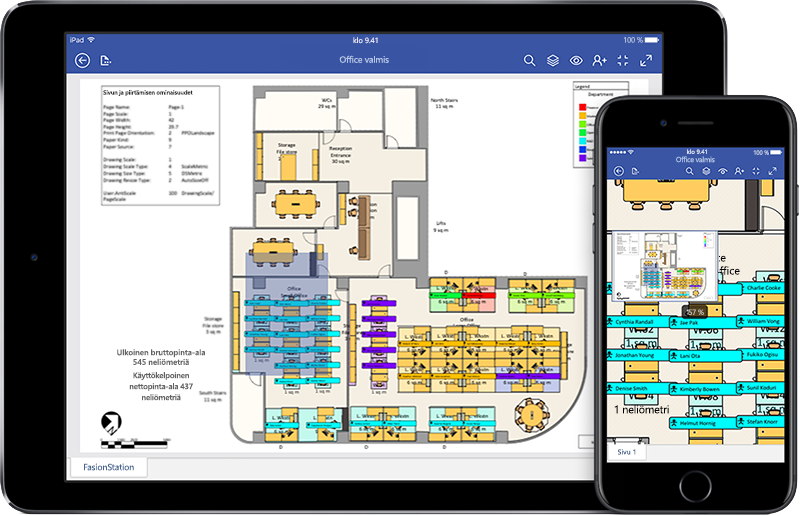 iPad ja iPhone, joissa näkyy kokoonpanokaavio Visiossa