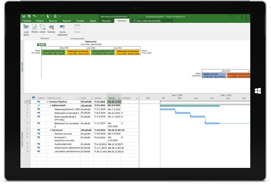 Microsoft Surface -tabletin näyttö, jossa näkyy Project-tiedosto sekä aikataulu ja aikajana Project Professionalissa.