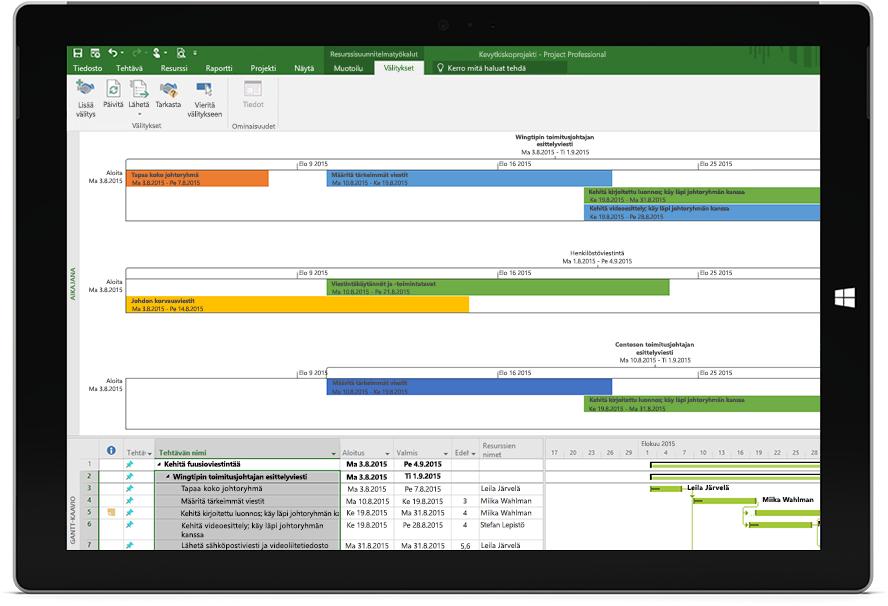 Microsoft Surface -tabletin näyttö, jossa näkyy Project-tiedosto ja projektin aikajana sekä Gantt-kaavio Project Professionalissa.
