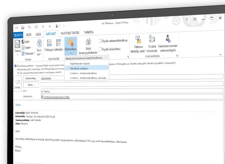 Näyttö, jossa näkyy Microsoft Azure Rights Management -toiminnolla salattu sähköpostiviesti.
