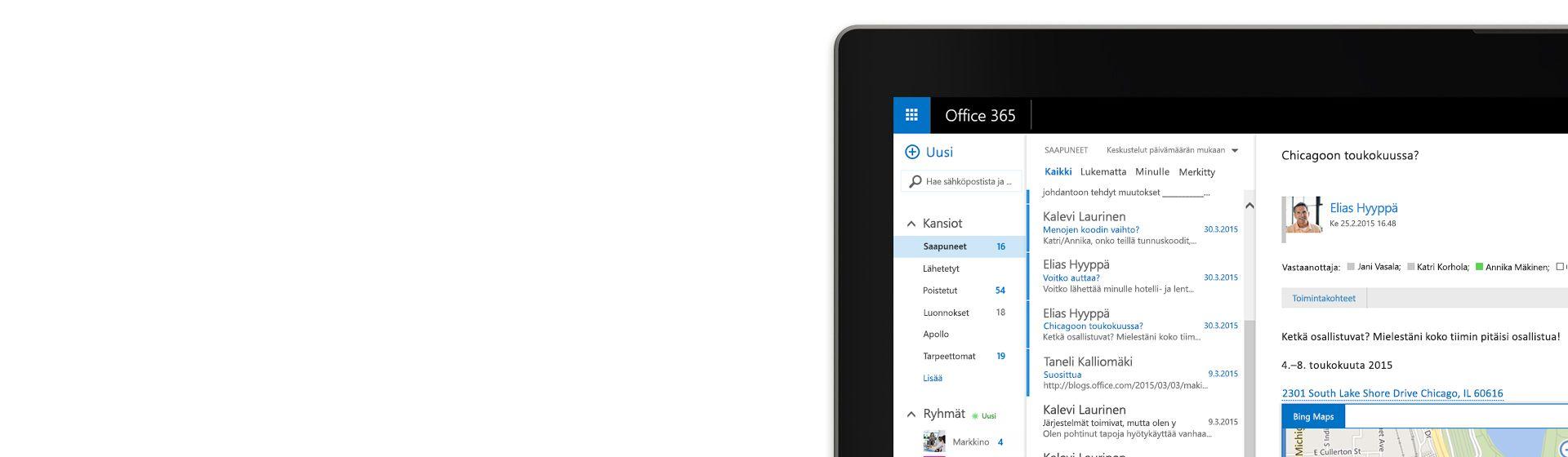 Tietokonenäytön kulma, jossa näkyy sähköpostilaatikko Office 365:ssä