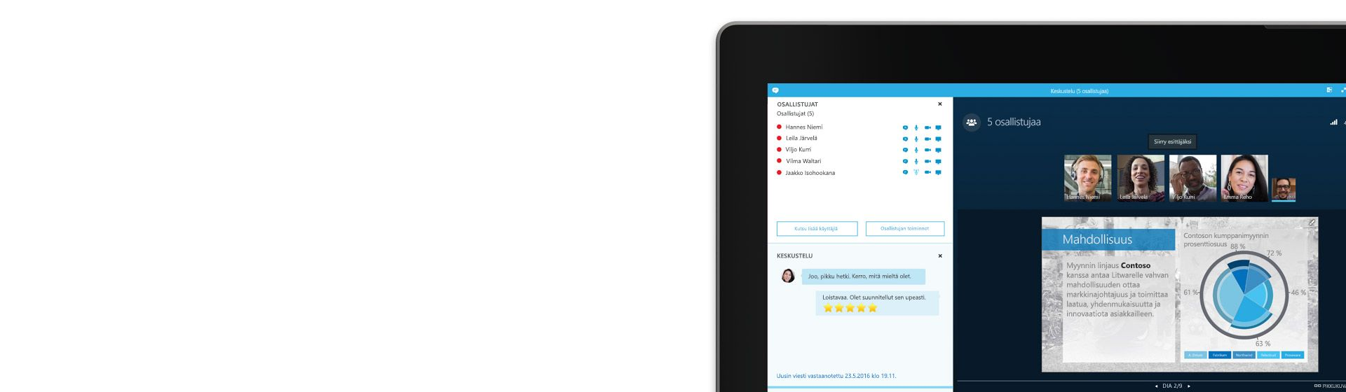 Tietokonenäytön kulma, jossa näkyy verkkokokous ja osallistujaluettelo Skype for Businessissa