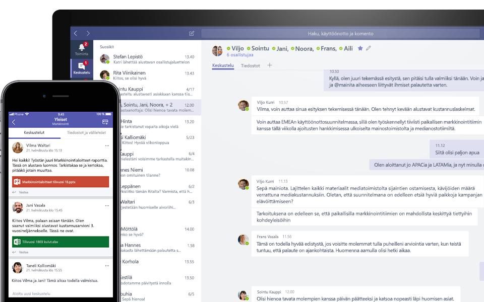 Teams-keskustelu mobiili- ja työpöytälaitteessa