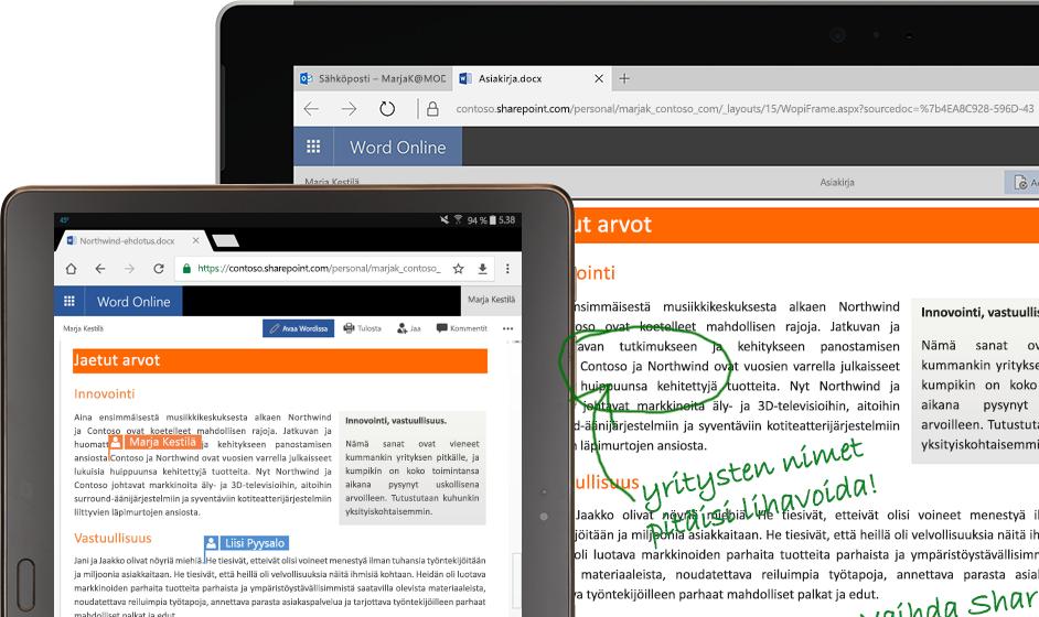 kannettava tietokone ja tabletti, joissa näkyy Word Online