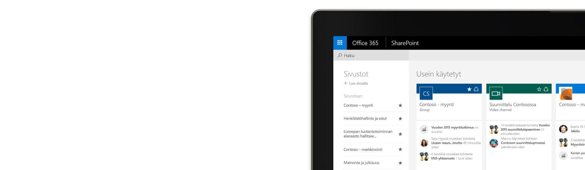 Kulma tietokoneen näytöstä, jolla näkyy Office 365:n SharePoint ja sen Contoso-esimerkkitietoja