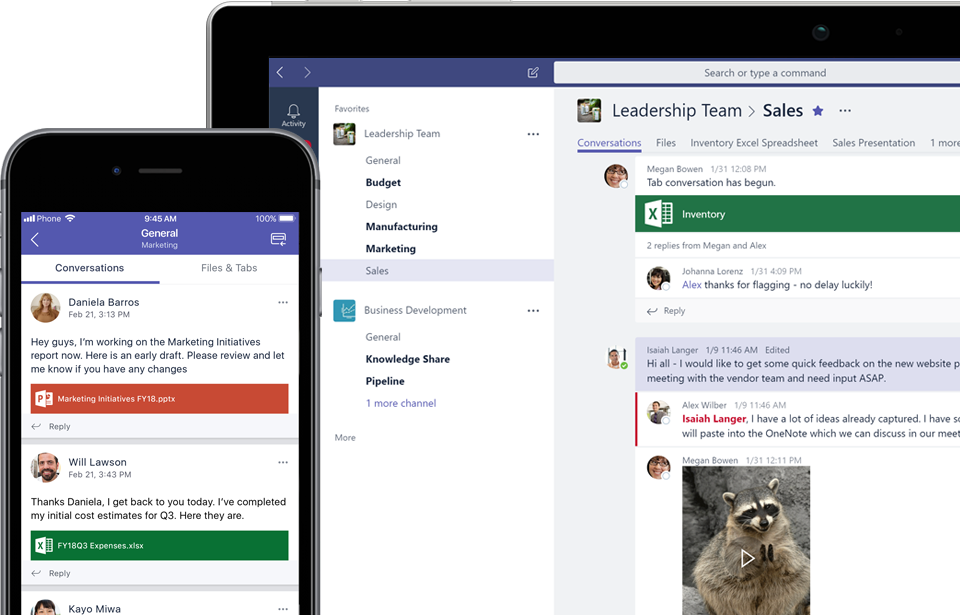 Mobiililaitteen näyttö ja laitteen näyttö, joissa näkyy Teams-viestintää