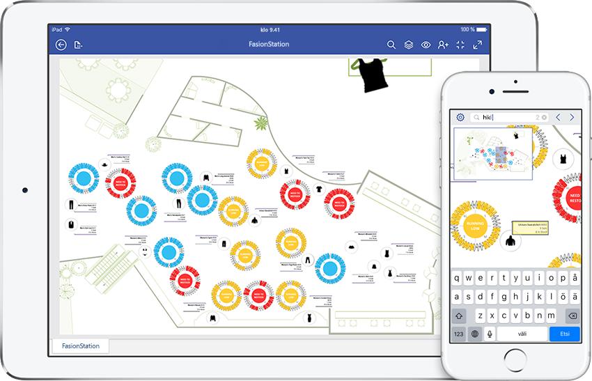 iPad ja iPhone, joissa näkyy ylläpito-oppaan kaavio Visiossa