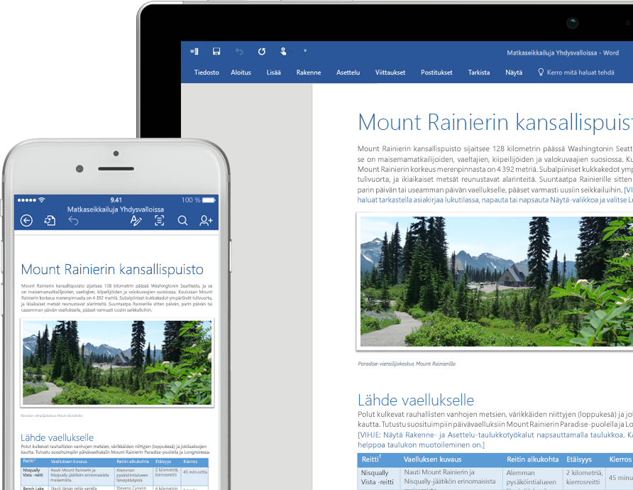 Kannettava tietokone ja iPhone, joiden näytössä näkyy Word-tiedosto
