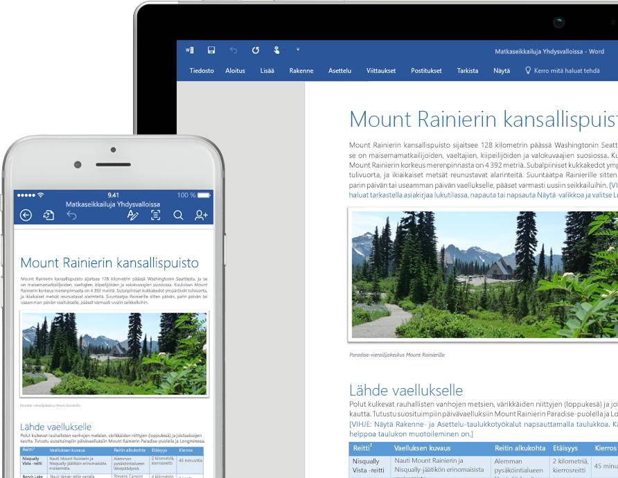 Matkapuhelimen ja kannettavan tietokoneen näyttö, joissa näkyy Mount Rainierin kansallispuistoa käsittelevä Word-asiakirja
