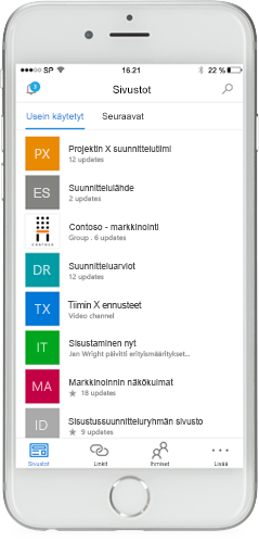 Puhelin, jonka näytössä näkyy SharePointin mobiilisovellus