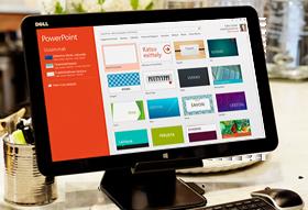Tietokonenäyttö, jossa näkyy PowerPoint-galleria diamalleista.