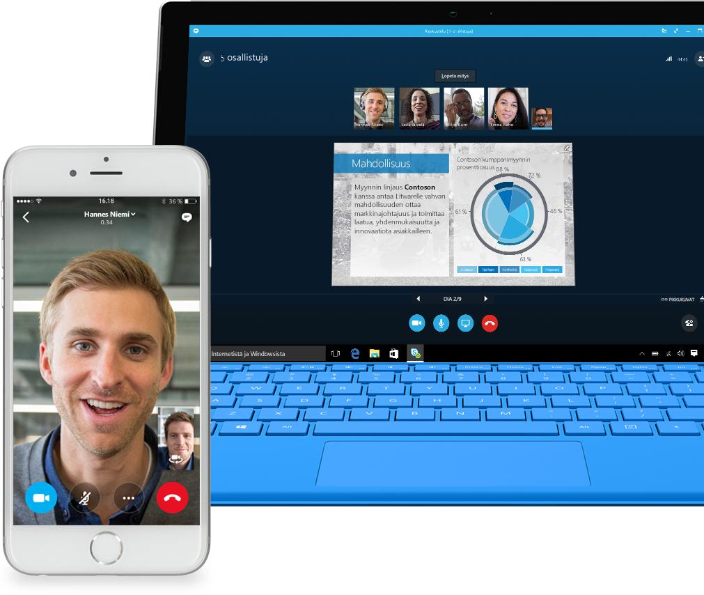 Puhelin, jossa näkyy Skype for Businessin puhelunäyttö ja kannettava tietokone, jossa näkyy Skype for Business -puhelu ja ryhmän jäseniä, jotka jakavat PowerPoint-esityksen