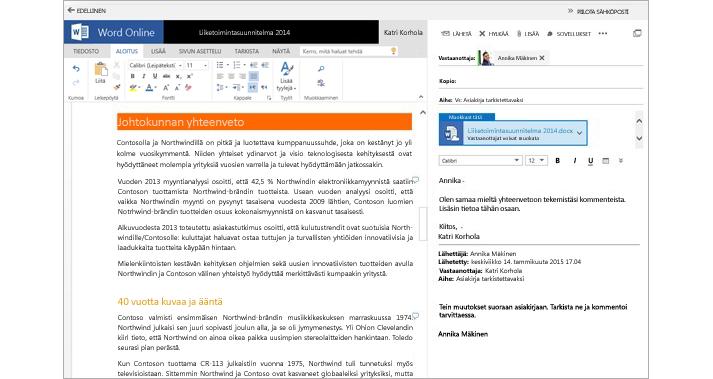 Sähköpostiviesti, joka näkyy asiakirjan liittämisen esikatseluruudun vieressä Word Onlinea käytettäessä