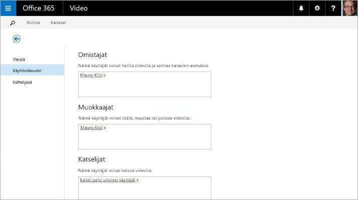 Näyttökuva Office 365 Video -sovelluksen videoportaalin hallintasivusta.