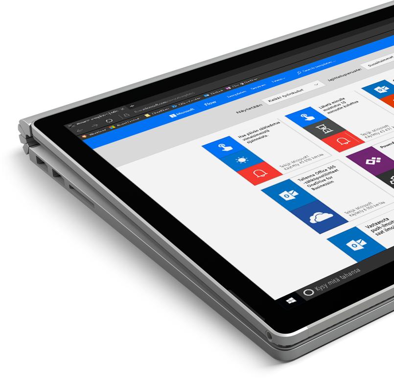 Windows-tablettitietokone, jossa käytetään Flow'ta