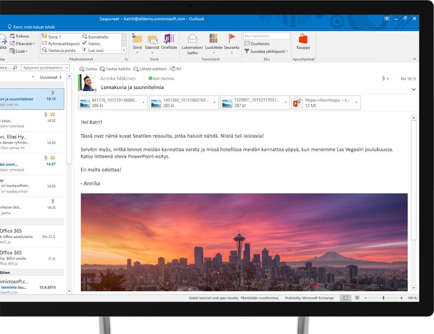 Office 365 -sähköpostiviesti, johon on upotettu kuva Seattlen siluetista
