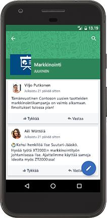 Android-puhelin, jossa näkyy Yammer-keskustelu