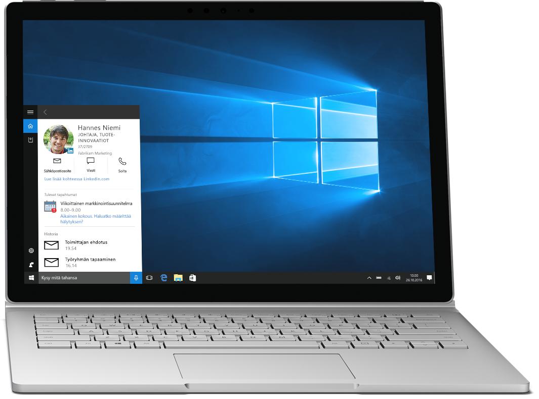 Kannettava tietokone, jossa näytetään Windows 10:n Cortana