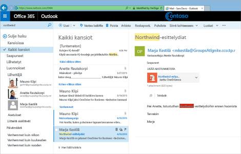 Lähikuva Outlook Web App -käyttäjän Saapuneet-kansiosta.