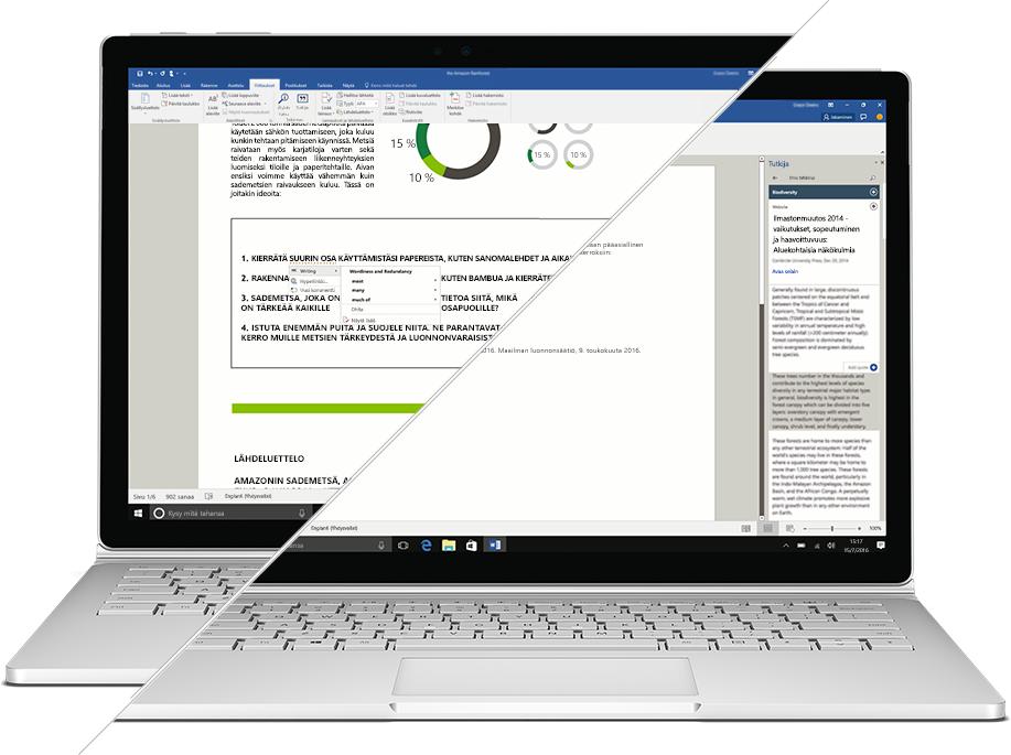 Näyttökuva Microsoft Wordin Researcher-toiminnosta ja tekstin korjaustoiminnoista