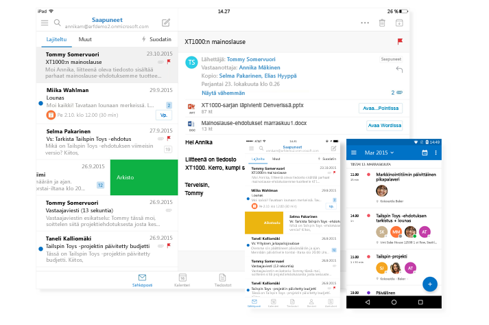 Tabletti ja kaksi puhelinnäyttöä, joissa näkyy Outlookin Saapuneet-kansio ja kalenteri