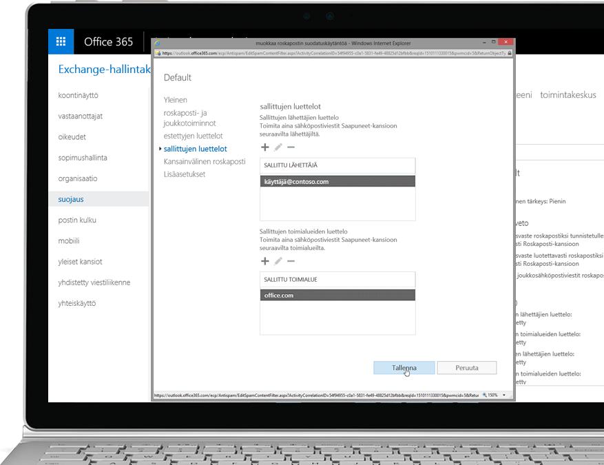 Office 365 Exchange Online Protection -suodatuskäytäntö Windows-kannettavassa