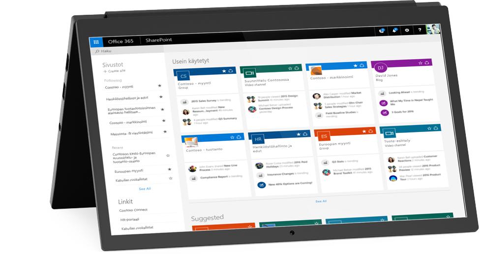 Kannettava tietokone, jossa näkyy SharePointin Omat sivustot -ruutu