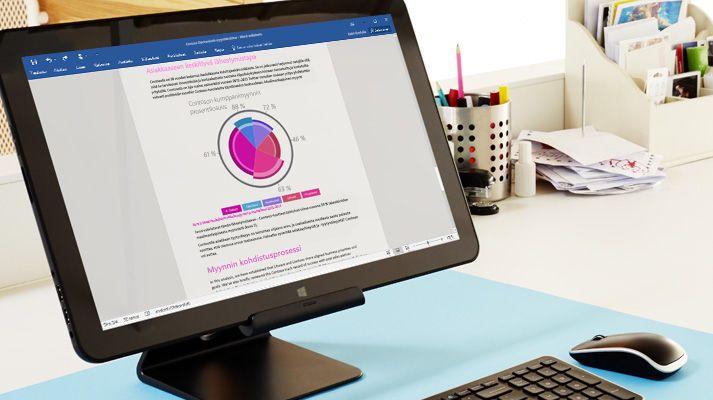 Tietokonenäyttö, jossa näkyvät Microsoft Wordin jakamistoiminnot.