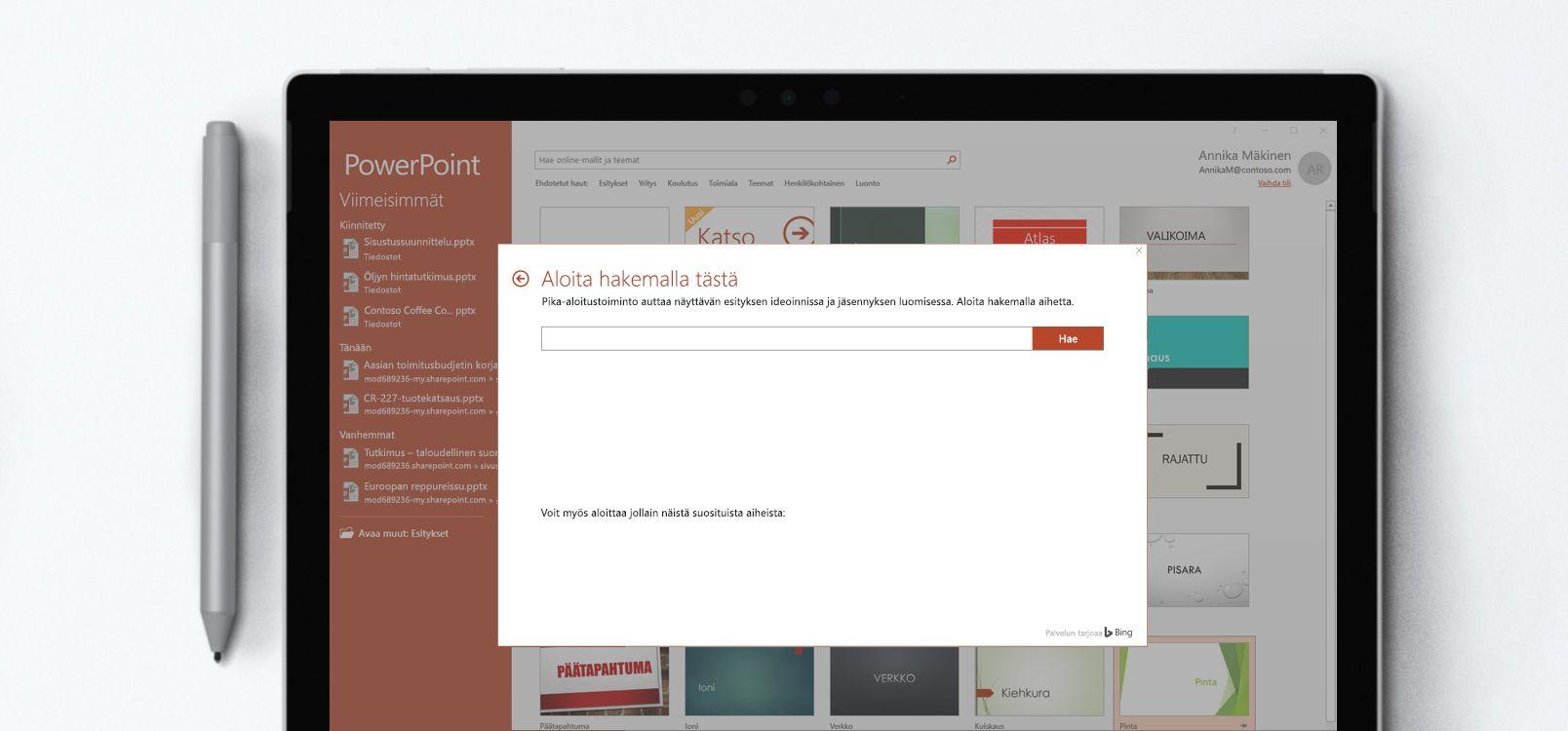 Tabletin näyttö, jossa näkyy PowerPoint-tiedosto ja Pika-aloitustoiminto