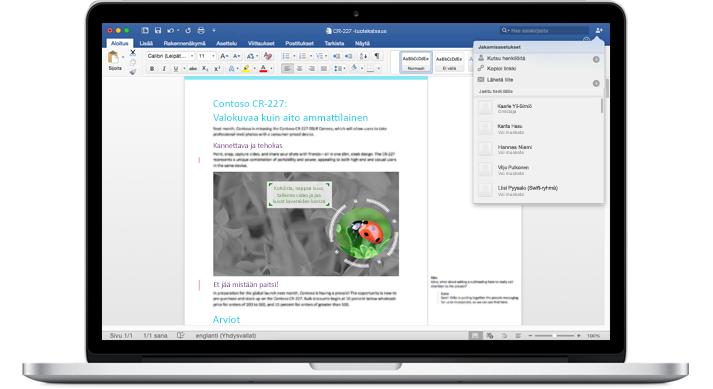 Kannettava tietokone, jonka näytössä näkyy kommentoitu Word-asiakirja ja jakamisasetusten valikko