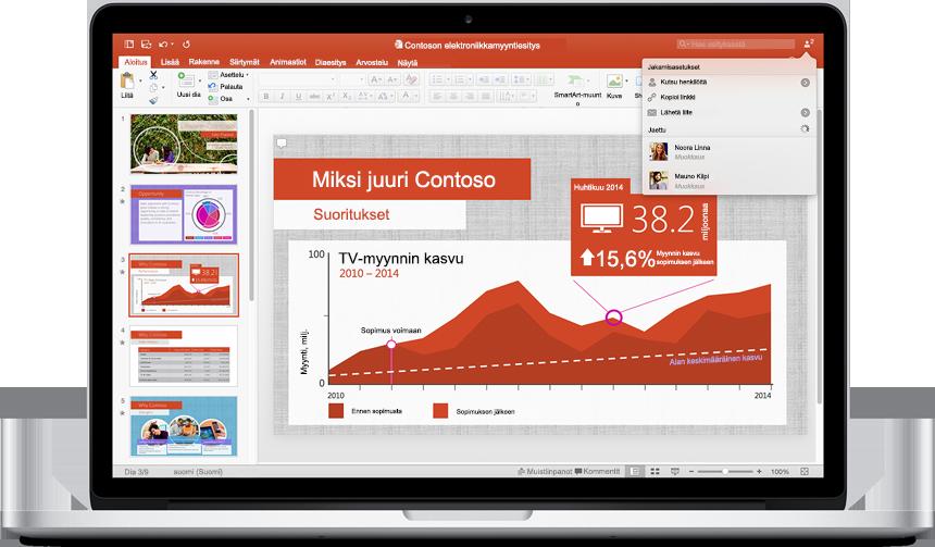 MacBook, jossa näkyy uuden PowerPoint for Macin esitys Jakamisasetukset-valikko avattuna.