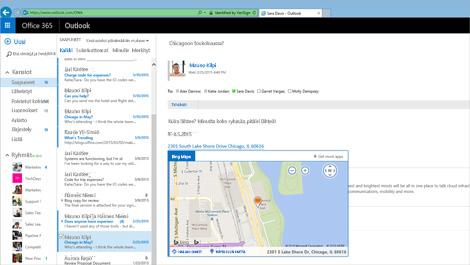 Lähikuva Outlook Web App -käyttäjän Saapuneet-kansiosta Exchangessa.