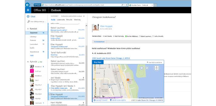Lähikuva Outlookin verkkoversion käyttäjän Saapuneet-kansiosta Exchangessa.