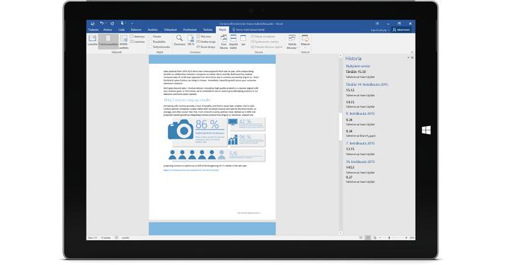 Tabletti, jossa näkyy asiakirjan versiohistoria Office 365:ssä.