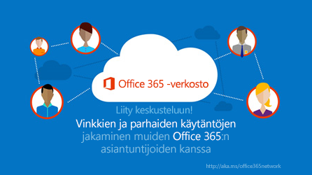 Kaavio Office 365 -verkostosta, jossa voit jakaa vinkkejä ja parhaita käytäntöjä muiden Office 365 -asiantuntijoiden kanssa.