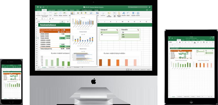 iPhone, iPad ja Mac-tietokone, joissa on Excel for Mac käytössä.