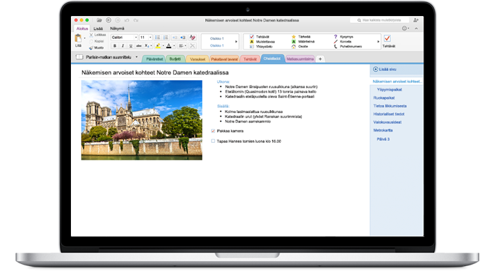 MacBook, jossa näkyy OneNote for Macissa avoinna oleva muistikirja.