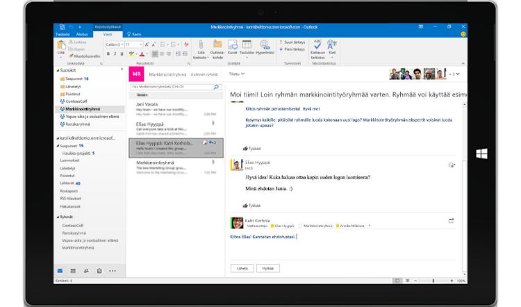 Outlookissa käynnissä oleva ryhmäkeskustelu tabletin näytössä