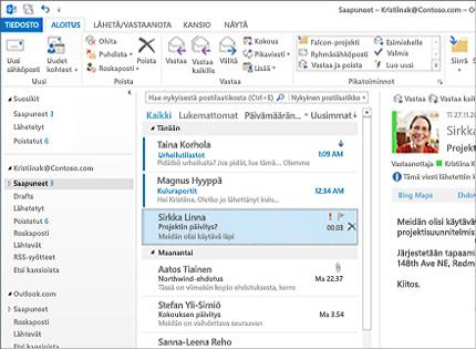 Näyttökuva Microsoft Outlook 2013:n Saapuneet-kansiosta, viestiluettelosta ja esikatselusta.