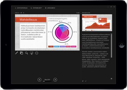 Tabletti, jossa näkyy PowerPoint-dia esitystilassa merkinnöillä.