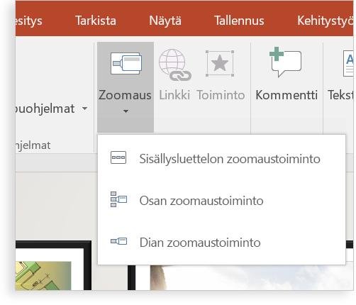 Tabletti, jossa näkyy PowerPoint-dian zoomaustoiminto.