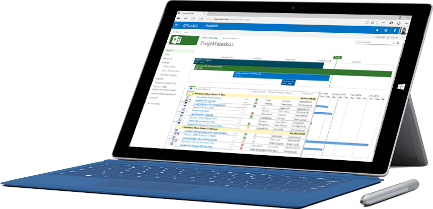 Microsoft Surface -tabletti, jossa näkyy aikajana ja luettelo Office 365:n projektikeskuksen tehtävistä