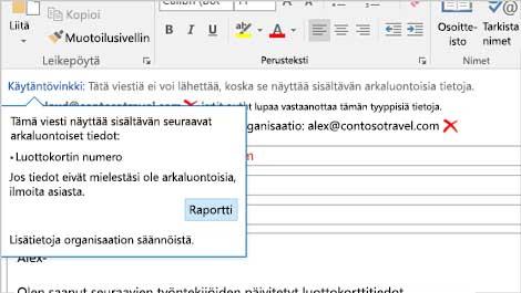 Lähikuva sähköpostiviestin käytäntövihjeestä, jonka avulla voidaan estää arkaluontoisten tietojen lähettämistä.