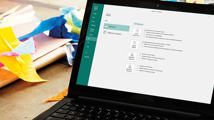 Kannettava tietokone, jossa näkyy Microsoft Publisher 2016:n jakamisnäyttö.