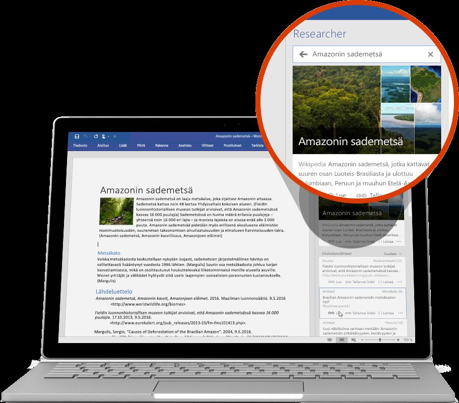 Kannettava tietokone, jossa näkyy Word-asiakirjassa käytettävä Researcher-toiminto, lue lisää Wordin ominaisuuksista